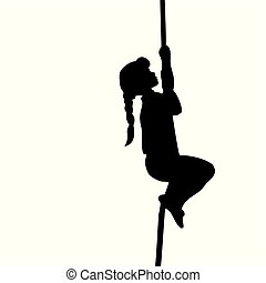 Silhouette girl climbs up the rope