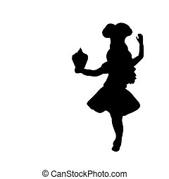 Silhouette girl cook. International Chefs Day