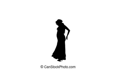 Silhouette Girl dances flamenco. - Professional dancer...