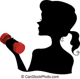 Silhouette Girl Dumbbell
