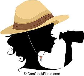 Silhouette Girl Explorer Illustration