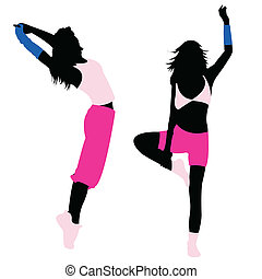 silhouette girl fitness, dance, exercise, jumping