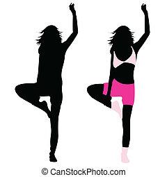 silhouette girl fitness, dance, exercise, jumping