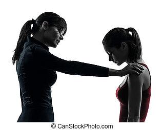 silhouette, girl, fond, discussion, prof, isolé, adolescent, blanc, femme, studio, une, mère, caucasien