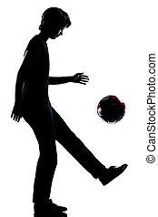 silhouette, girl, fond, jonglerie, coupé, isolé, adolescent, blanc, longueur, football, garçon, une, studio, football, caucasien, entiers, jeune