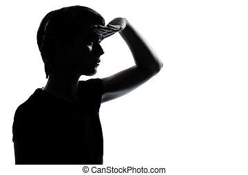 silhouette, girl, foward, regarder, adolescent, garçon, une, ou, jeune