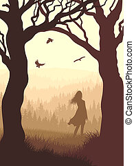 Silhouette girl in forest. - Vector illustration of tree...