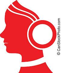 Silhouette girl in headphones