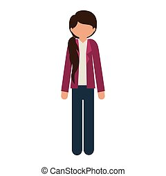 silhouette girl in jeans with jacket without face