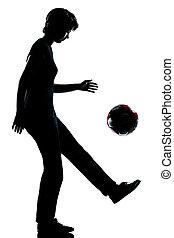 silhouette, girl, jonglerie, adolescent, football football, une, jeune