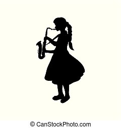 Silhouette girl music playing the saxophone