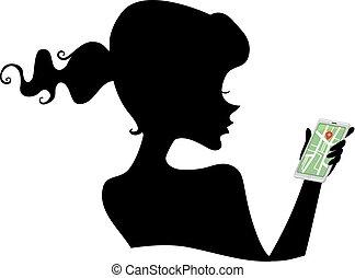 Silhouette Girl Navigator Illustration