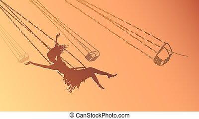 Silhouette girl on swing at sunset. - Vector horizontal ...