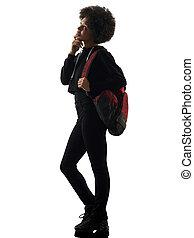 silhouette, girl, regarder, adolescent, position femme, ombre, haut, jeune