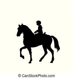 Silhouette girl rider horseback equitation