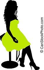 silhouette, girl, séance, fond, blanc, chaise