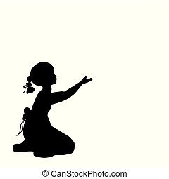 Silhouette girl sitting lap with hand up