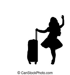Silhouette girl standing with suitcase. Vector illustration