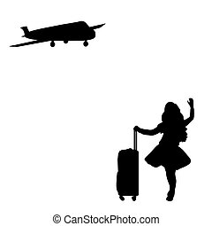 Silhouette girl standing with suitcase waiting for plane....