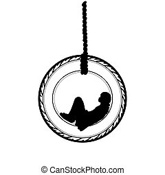 Silhouette girl swing of wheel