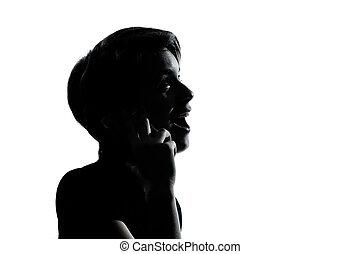 silhouette, girl, téléphone, adolescent, garçon, une, ou, jeune
