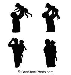 silhouette, girl, vecteur, père
