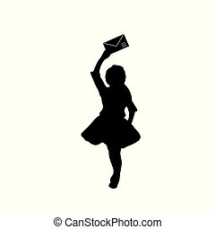 Silhouette girl with a letter in her hand