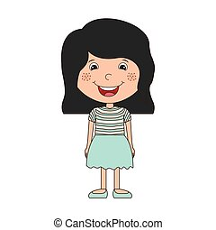 silhouette girl with black hair short and skirt