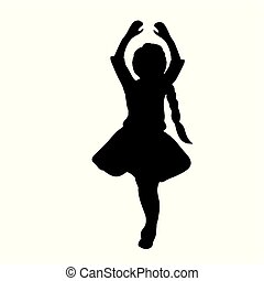 Silhouette girl with hands up