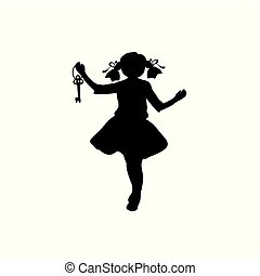 Silhouette girl with key in her hand