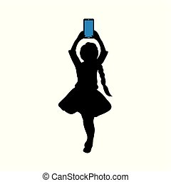 Silhouette girl with phone in her hand