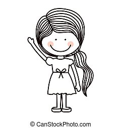 silhouette girl with raised hand