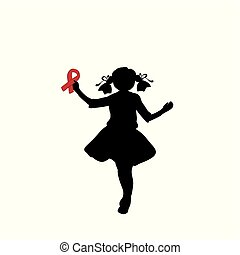 Silhouette girl with red ribbon in her hand