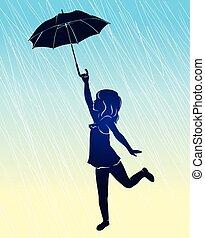 Silhouette girl with umbrella.