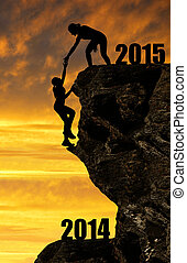 girls climbs into the New Year 2015 - Silhouette girls...