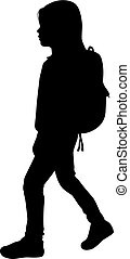 Silhouette girls reaching school.