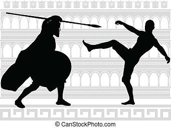 silhouette, gladiators