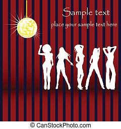 silhouette, glam, danse, carte, disco, conception