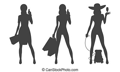 Silhouette glamor business woman shopping