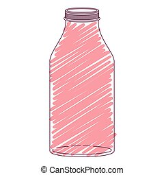 silhouette glass bottle with red stripes