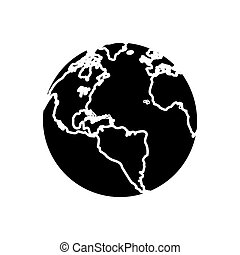 silhouette globe map world earth business icon