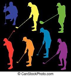 silhouette, golf, colorito, illustrazione