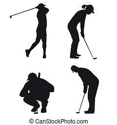 silhouette, golf