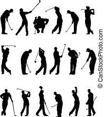 silhouette, golfers