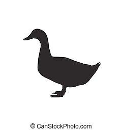 silhouette goose icon - silhouette goose on white...