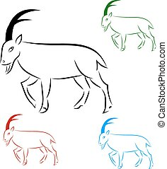 Silhouette goral on white background, vector