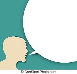 silhouette, grand, résumé, orateur, bulle, vide