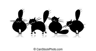 silhouette, grand, rigolote, famille, noir, chats