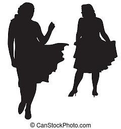 silhouette, grasso, donne