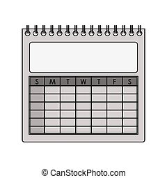 silhouette gray scale calendar with spiral vector ...